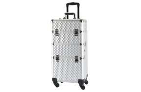 Επαγγελματική βαλίτσα αλουμινίου τροχήλατη ασημί