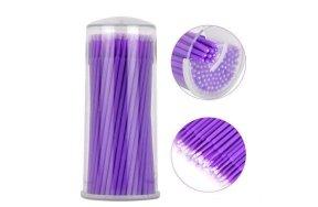 Βουρτσάκια βλεφαρίδων Microbrushes μωβ ultra fine 1,5mm 100τεμ