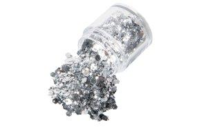 Σκόνη ασημί παγέτα-glitter-ίνες, 10g
